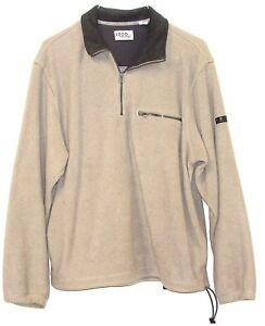 IZOD-PerformX-Mens-Khaki-Beige-1-4-Zip-Long-Sleeve-Pullover-Fleece-Sweatshirt-M