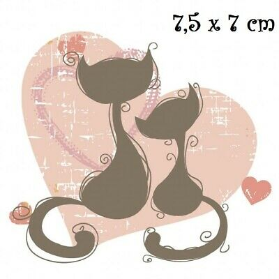CHAT TIGRÉ ROSE sur COEUR T180 Dessin Transfert thermocollant Patch Applique