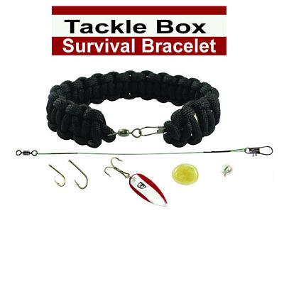 "Small 8/"" with Survival Fishing Kit Tackle Box Survival Bracelet Black"