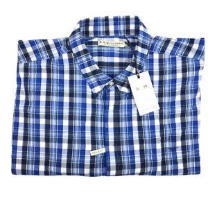 RM Williams Mens Collins Long Sleeve Button Down Shirt Blue/wht Check Sz 4XB NEW