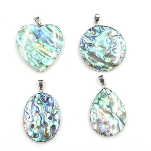 Classique Ronde Cut Véritable Arc En Ciel Abalone Shell Gems Silver Collier Pendentifs