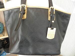 Longchamp  LM Cuir Black and Gold embossed Leather Tote Handbag EUC ... 8b5cf825ba5a7