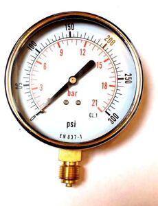 Details about 100 MM PSI DRY PRESSURE GAUGE 0 300 PSI/BAR EN837-1
