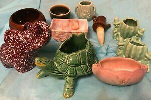Lot-Art-Pottery-Planters-McCoy-Akro-Agate-Mr-Potts-Haeger-Rosewood-Like