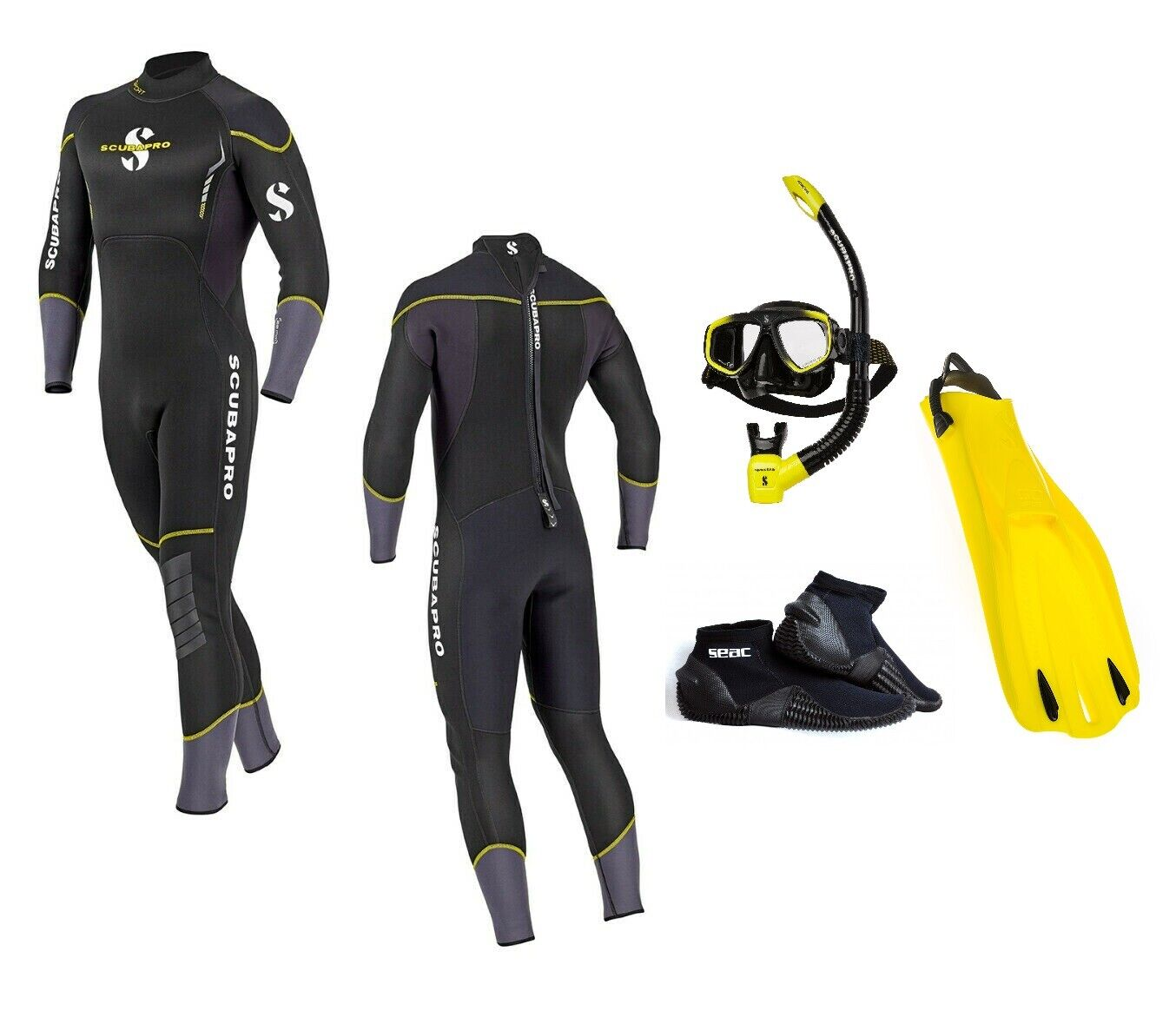 Scubapro Sport 3.0 Set Hombre Negro Amarillo