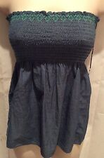 NWT American Eagle Outfitters Small Denim Blue Baby Doll Tube Top 100% Cotton