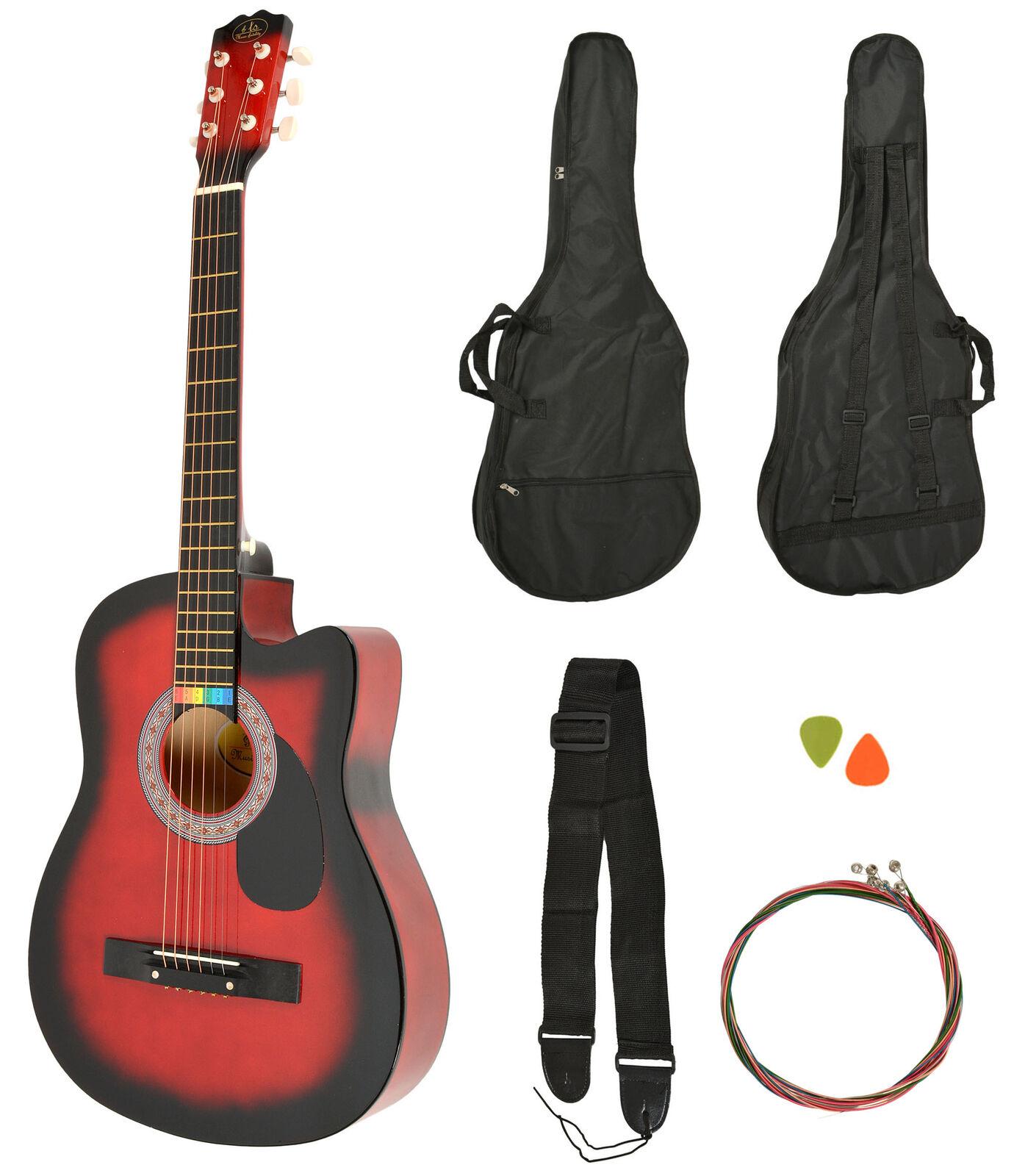 Akustik Western Gitarre Westerngitarre Rot Sunburst + Gitarrentasche + Gurt NEU