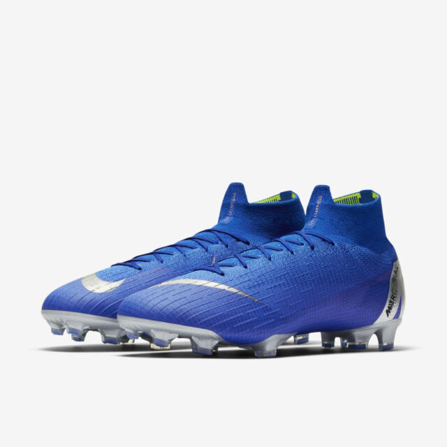 buy popular 51dd5 5cc7f Nike Mercurial Superly 6 Elite FG Size 8-12 Racer Blue Silver Cleats AH7365-