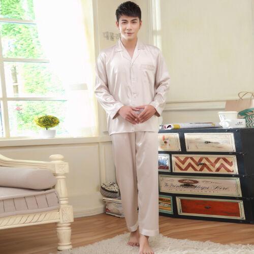 NEU Herren Pyjama Schlafanzug Seide Satin Langarm langer Hose Nachtwäsche M038