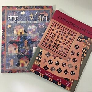 Lot-of-2-quilt-pattern-books-Christmas-Or-Not-amp-The-GingerThread-Man-excellent