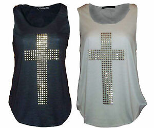 Ladies-Vest-Womens-Cross-Print-Gold-Studded-T-Shirt-Tank-Stretch-Sleeveless-TOP