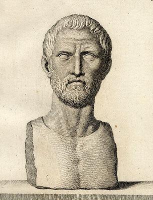 Buste Testa Incognita Campiglia Sculpture Capitolini - Gravure originale Rome