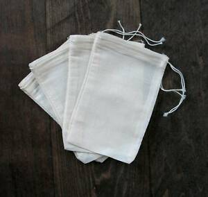 Bags Natural Muslin With Black hem Black drawstring 3x5 100