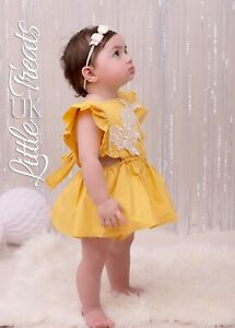Girls-1st-first-Birthday-cake-smash-outfit-romper-Yellow-Lace-ruffle-shoulder