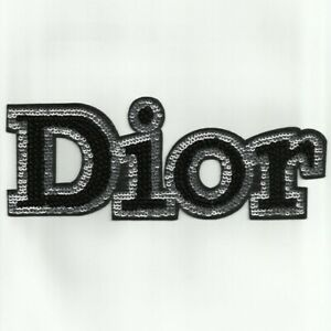 DIOR-Black-Glitter-Large-PATCH-Iron-On-Fashionista-Brand-New-Very-Rare