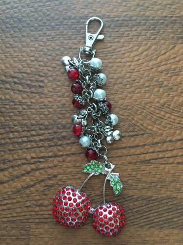 Cherry  Purse Charm Cherries Bling Keychain