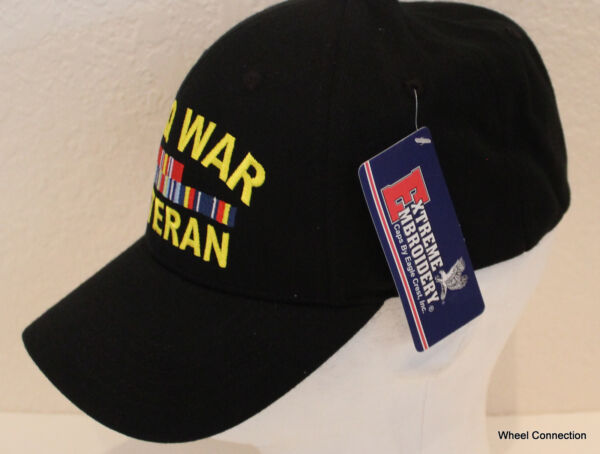 759b0c04 Iraq War Veteran Hat Eagle Crest W/ Ribbons Embroidered Military Black Cap.  Hover to zoom