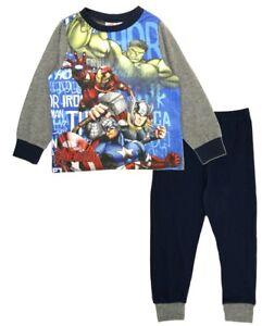 Marvel Avengers Boys Full Length Pyjamas Pjs Set Nightwear Navy//Grey