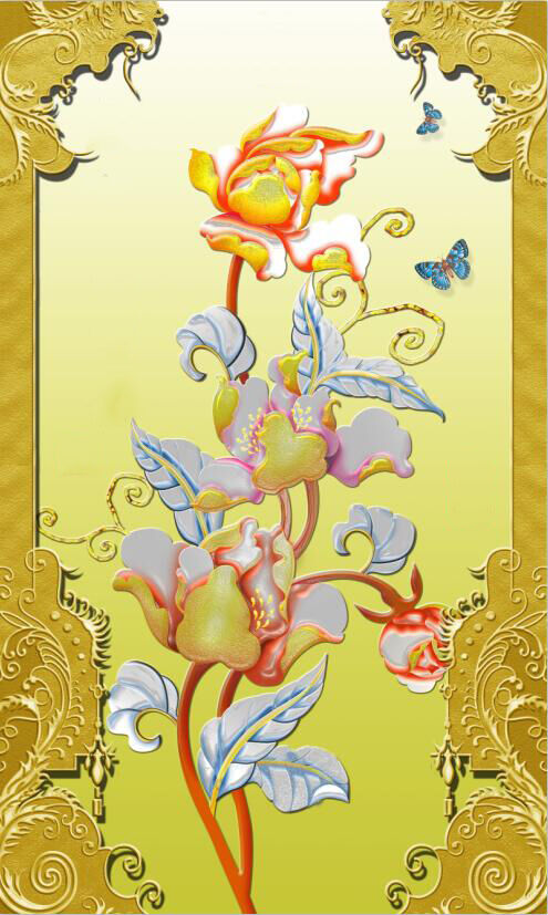 3D carving gold floral textu Wallpaper Decal Decor Home Kids Nursery Mural  Home