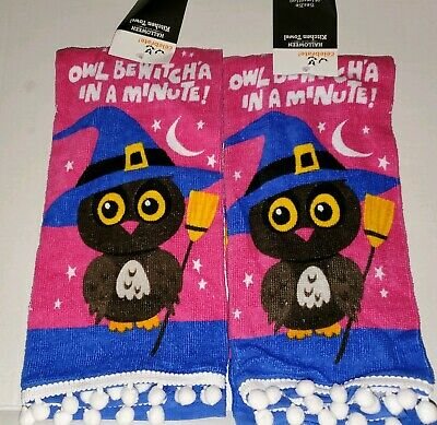 Owl Witch Halloween Kitchen Hand Towels Owl Bewitch A In A Minute 15 X25 Ebay
