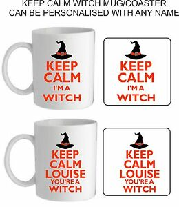 Image Is Loading Personalised Keep Calm Witch Mug Cup Coaster Funny