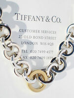 Tiffany & Co Sterling Silver 18Ct 18K Gold Circle Link Bracelet
