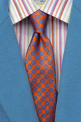 Ted Baker London Gent's Orange & Blue Foulard All Silk Tie - Italy/USA - $105.00