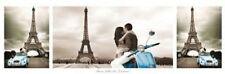 TRAVEL POSTER Paris Trio Romance Eiffel Tower Triptych