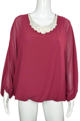 Damen Bluse Chiffon Shirt Langarm Oberteil mit Perlen und Glitze  40//42