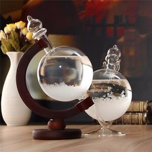 Weather Forecast Crystal Bottle Globe Water Shape Storm Glass Home Decor Gift UK