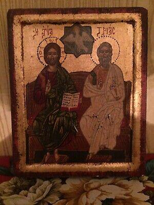 SANTA Trinita /'Icona Ortodossa Argento oro in rilievo