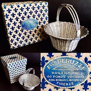 "Details about Boxed Rare Vintage Italian Peruzzi Solid Woven Silver 4""/10cm  Ornamental Basket"