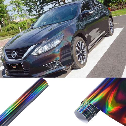 Black Holographic Rainbow Chrome Car Vinyl Wrap Sticker Film Air Bubble Free DIY