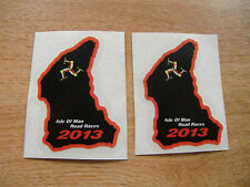 x2 ISLE OF MAN TT RACES course map sticker BLACK/RED 50mm high 2013