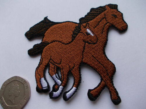 Embroidered Brown Horse Mare /& Foal Equestrian Animal Iron on Sew on Patch//pony