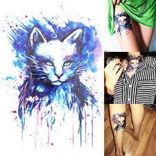 3D Temporäre Tattoo Sticker Beautiful Blue Cat Design Body Art Tattoo Aufkleber
