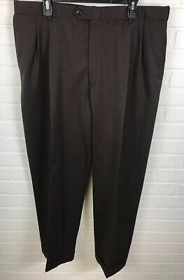 Austin Reed London 38x30 Mens Pleated Cuffed Dress Pants Dark Brown Ra2 Ebay