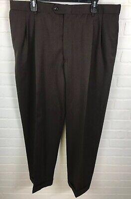 Austin Reed London 38x30 Mens Pleated Cuffed Dress Pants Dark Brown Ra2 Ebay