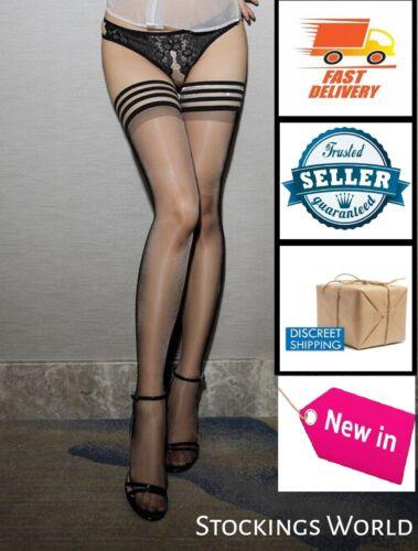 Black Hold Ups Stockings With Black Modern style Welt Size Medium NEW UK!!