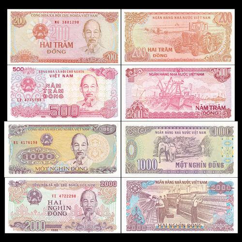 200+500+1000+2000 Dong Vietnam Viet Nam 4 PCS Banknotes Set UNC