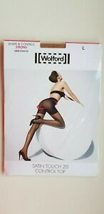 WOLFORD SATIN TOUCH 20 den tights size L LARGE in GAUDI dark CHOCOLATE brown NEW