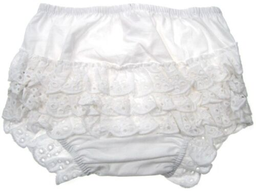 Baby Girls White Cotton Frilly Pants With Cotton Frills 0-18 months