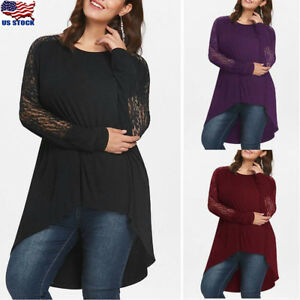 Plus-Size-Women-Long-Sleeve-Lace-Tunic-Top-Loose-Pullover-Irregular-Blouse-Shirt