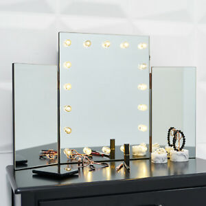 Details About Gl Glamour Led Light Dressing Table Vanity Make Up Tri Mirror Bathroom Wall