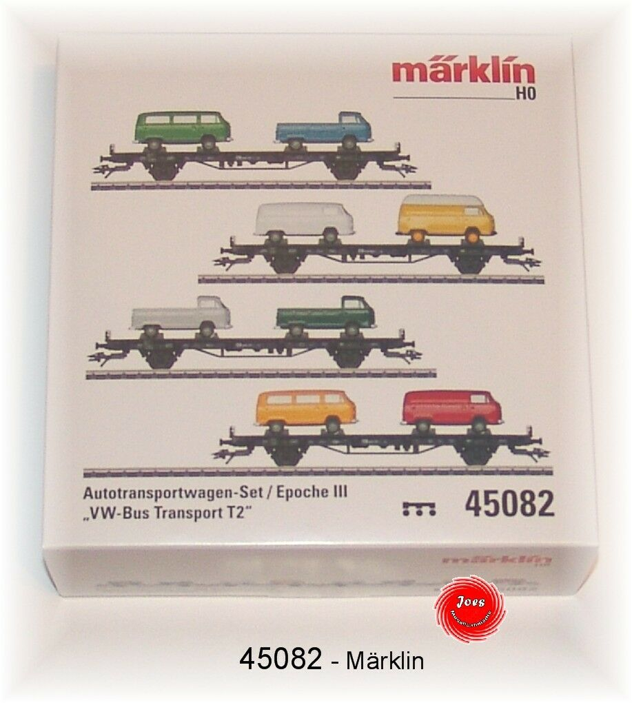 MÄRKLIN 45082 car Transport horizontal Set  VW Bus Transport T2  DB in