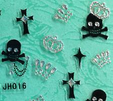 Nail Art 3D Sticker Silver Crystal Crown on Black Skulls Cross 30pcs Halloween
