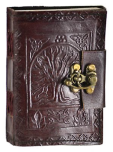 Leather-Celtic-Tree-of-Life-Book-of-Shadows-Blank-Spell-Book-Wicca-by-Raven