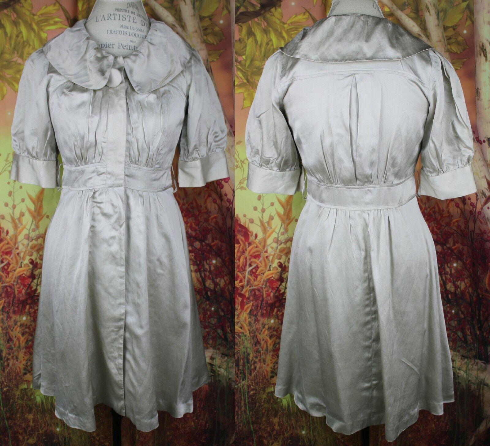 Anthropologie Elevenses Silk Over Coat Dress Size 6 Button Down Rare
