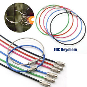 Keys-Chain-EDC-Keychain-Wire-Keyrings-Key-Holder-Stainless-Steel-Carabiner