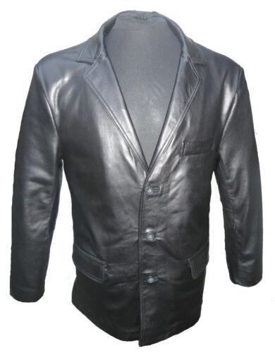 Mens Classic Black Leather 3 Button Smart Blazer Suit Jacket